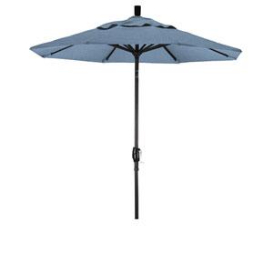 7.5 Foot Aluminum Market Umbrella Push Tilt Matte Black/Sunbrella/Air Blue