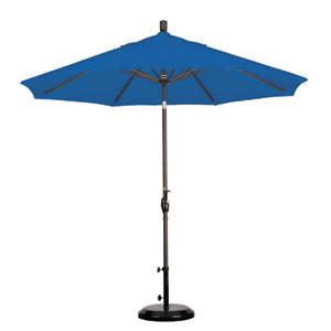 9 Foot Umbrella Aluminum Market Push Tilt - Bronze/Sunbrella/Pacific Blue