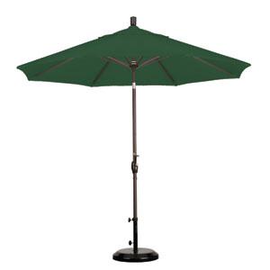 9 Foot Umbrella Aluminum Market Push Tilt - Bronze/Sunbrella/Forest Green