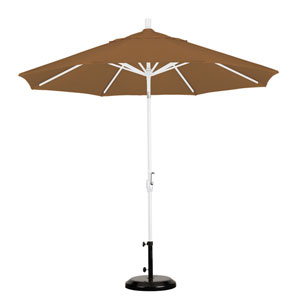 9 Foot Aluminum Market Umbrella Push Tilt Matte White/Sunbrella/Canvas Teak