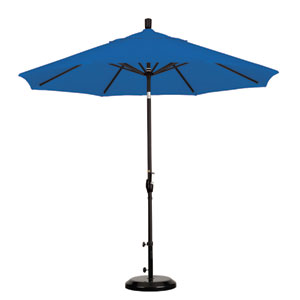 9 Foot Umbrella Aluminum Market Push Tilt - Matte Black/Sunbrella/Pacific Blue