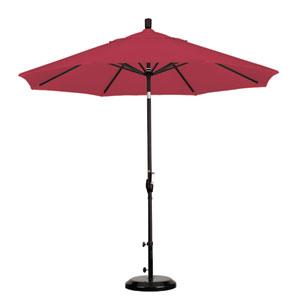 9 Foot Umbrella Aluminum Market Push Tilt - Matte Black/Sunbrella/Jockey Red