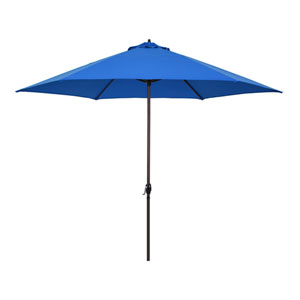 11-Foot Aluminum Market Umbrella with Crank Lift in Pacific Blue