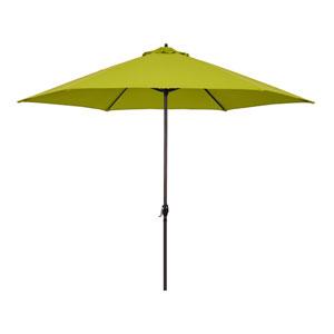 11-Foot Aluminum Market Umbrella with Crank Lift in Lime Green