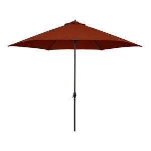 11-Foot Aluminum Market Umbrella with Crank Lift in Brick