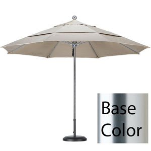 11 Foot Umbrella Stainless Steel Single Pole Fiber Glass Ribs Double Vent Anodized/Pacifica/Beige