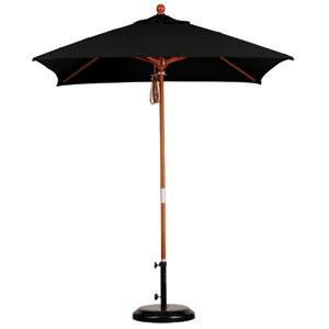 6 X 6 Foot Umbrella Wood Market Pulley Open Marenti Wood/Sunbrella/Black