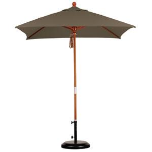 6 X 6 Foot Umbrella Wood Market Pulley Open Marenti Wood/Sunbrella/Cocoa