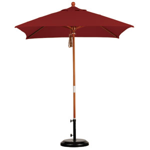 6 X 6 Foot Umbrella Wood Market Pulley Open Marenti Wood/Sunbrella/Terracotta