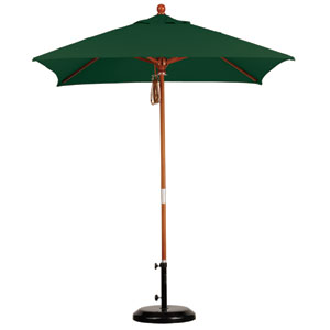 6 X 6 Foot Umbrella Wood Market Pulley Open Marenti Wood/Sunbrella/Forest Green