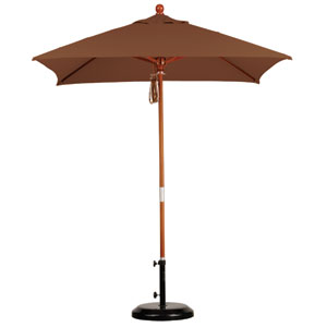 6 X 6 Foot Umbrella Wood Market Pulley Open Marenti Wood/Sunbrella/Canvas Teak