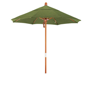 9 Foot Wood Market Umbrella Pulley Open Marenti Wood/Sunbrella/Spectrum Cilantro