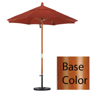 7.5 Foot Umbrella Wood Market Pulley Open Marenti Wood/Sunbrella/Henna