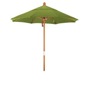 9 Foot Wood Market Umbrella Pulley Open Marenti Wood/Sunbrella/Macaw