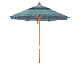 9 Foot Wood Market Umbrella Pulley Open Marenti Wood/Sunbrella/Dolce Oasis