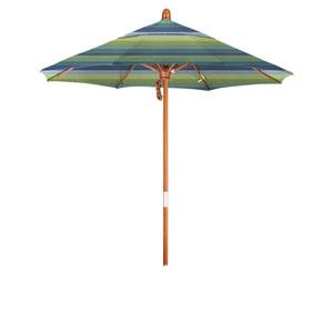 9 Foot Wood Market Umbrella Pulley Open Marenti Wood/Sunbrella/Seville Seaside