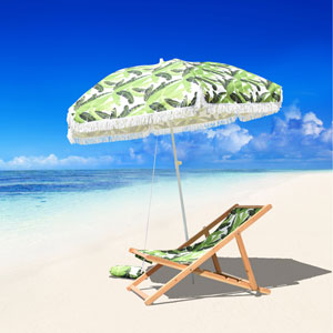 6.5-Foot Fiberglass Beach Umbrella with Carry Bag And Sand Bag in Lush Paradise