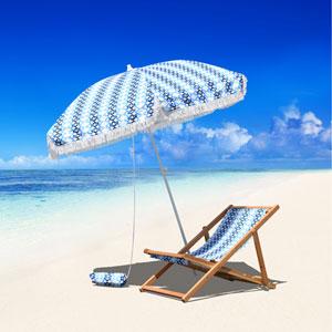 6.5-Foot Fiberglass Beach Umbrella with Carry Bag And Sand Bag in Azure Braid