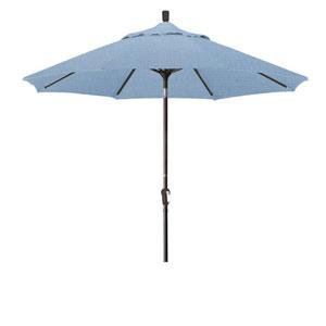 9 Foot Aluminum Market Umbrella Auto Tilt Bronze/Sunbrella/Air Blue
