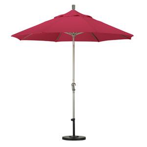 9 Foot Umbrella Aluminum Market Auto Tilt Champagne/Sunbrella/Jockey Red