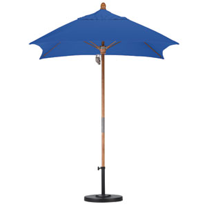 6 X 6 Foot Umbrella Fiberglass Market Pulley Open Marenti Wood/Sunbrella/Pac Blue