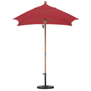 6 X 6 Foot Umbrella Fiberglass Market Pulley Open Marenti Wood/Sunbrella/Jockey Red