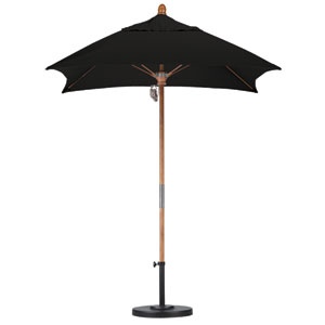 6 X 6 Foot Umbrella Fiberglass Market Pulley Open Marenti Wood/Sunbrella/Black