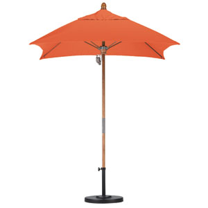 6 X 6 Foot Umbrella Fiberglass Market Pulley Open Marenti Wood/Sunbrella/Tuscan