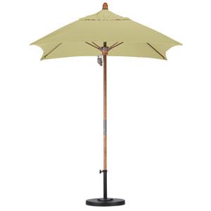 6 X 6 Foot Umbrella Fiberglass Market Pulley Open Marenti Wood/Sunbrella/Ant.Beige