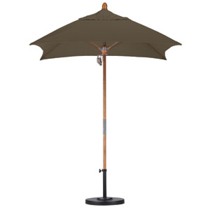 6 X 6 Foot Umbrella Fiberglass Market Pulley Open Marenti Wood/Sunbrella/Cocoa