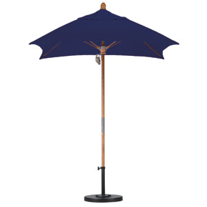 6 X 6 Foot Umbrella Fiberglass Market Pulley Open Marenti Wood/Sunbrella/Navy