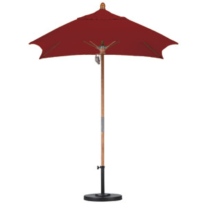 6 X 6 Foot Umbrella Fiberglass Market Pulley Open Marenti Wood/Sunbrella/Terracotta