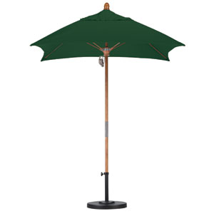 6 X 6 Foot Umbrella Fiberglass Market Pulley Open Marenti Wood/Sunbrella/Forest Green