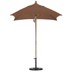 6 X 6 Foot Umbrella Fiberglass Market Pulley Open Marenti Wood/Sunbrella/Cork