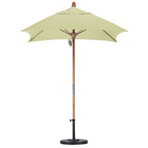 6 X 6 Foot Umbrella Fiberglass Market Pulley Open Marenti Wood/Sunbrella/Canvas