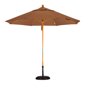 9 Fiberglass Market Umbrella Pulley Open Marenti Wood/Sunbrella/Canvas Teak