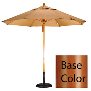 9 Foot Umbrella Fiberglass Market Pulley Open - Marenti Wood/Pacifica/Beige