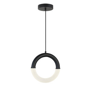 Acryluxe Revolve Matte Black Two-Light LED Pendant with Frosted Acrylic Shade