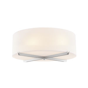 Acryluxe Brushed Nickel Three-Light Flush Mount