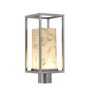 Alabaster Rocks Brushed Nickel LED Outdoor Post