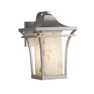 Alabaster Rocks Summit Brushed Nickel LED Outdoor Wall Sconce
