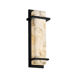Alabaster Rocks Monolith Matte Black 14-Inch ADA LED Outdoor Wall Sconce