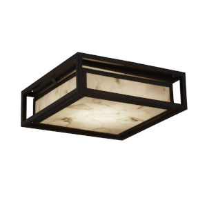 Alabaster Rocks Dark Bronze LED Outdoor Flush Mount