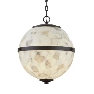 Alabaster Rocks! - Imperial Dark Bronze 17-Inch Three-Light LED Chandelier