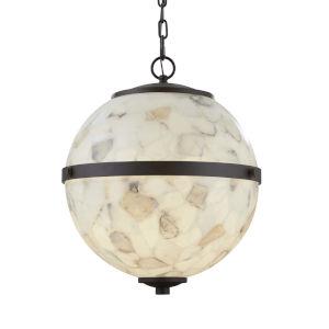 Alabaster Rocks! - Imperial Matte Black 17-Inch Four-Light LED Chandelier