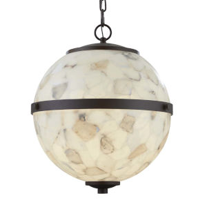 Alabaster Rocks! - Imperial Dark Bronze 25-Inch Six-Light LED Chandelier