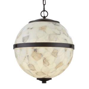 Alabaster Rocks! - Imperial Matte Black 25-Inch Six-Light LED Chandelier