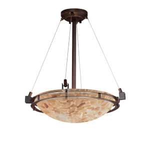 Alabaster Rocks Dark Bronze Three-Light Pendant