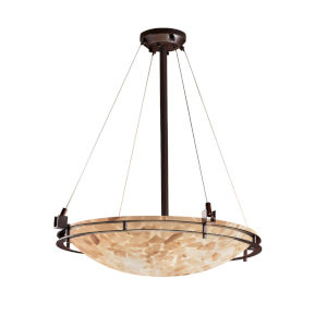 Alabaster Rocks Metropolis Dark Bronze Six-Light Round Bowl Pendant