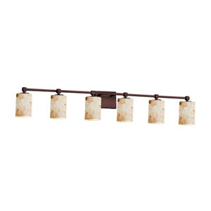 Alabaster Rocks! - Tetra Dark Bronze Six-Light LED Bath Bar with Cylinder Flat Rim Alabaster Rocks Shade